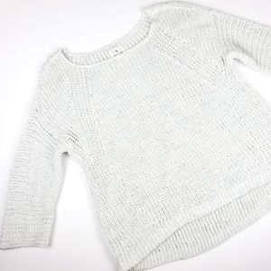 Lou & Grey White Gray Cable Knit Sweater Med